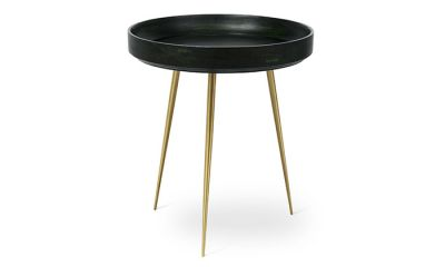 Tables basses Bowl Green en manguier teinté, pieds laiton - Medium