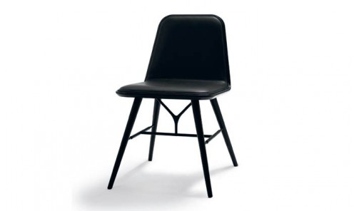 Chaise scandinave Spine Wood Base design Space Copenhagen - Frêne noir, cuir noir 88