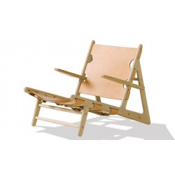 Fauteuil bas Hunting Chair design Borge Mogensen - Fauteuil Hunting Chair chêne brut, cuir naturel