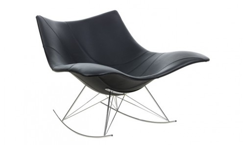 Rocking-chair en cuir Stingray de Fredericia